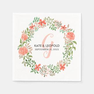 Wedding Monogramm RosenWatercolorblumenwreath-| Papierserviette