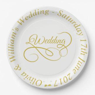 Wedding Papierplatten-Gold Feld u. verzierte Pappteller
