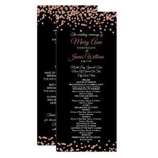 Wedding Program Rose Gold Glitter Confetti Black Karte