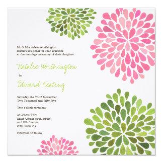 Wedding rosa u. grüne Blume blüht Einladung
