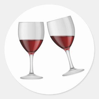 Wedding Rotwein-Champagne-Gläser Burgunders Runder Aufkleber