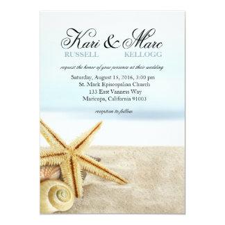 Wedding Sandy-StrandStarfishSeashells Karte