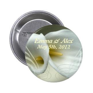 Wedding Save the Date mit weiße Lilien-Entwurf Runder Button 5,1 Cm