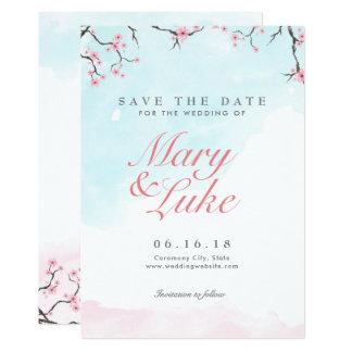 Wedding Save the Date | Watercolor-Kirschblüten Karte
