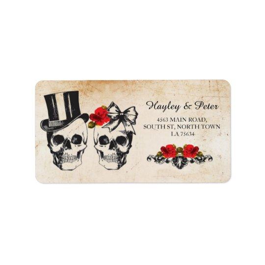 Wedding Schädel-Rosen-rustikale Adressen-Etiketten Adressaufkleber