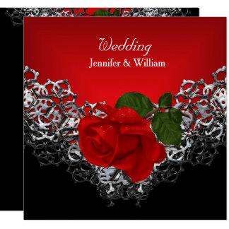 Wedding Schwarz-weiße silberne tiefrote Rose Karte