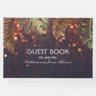 Wedding Strand-Schnur-Lichter und Palmblätter Gästebuch