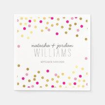 WEDDING TABLE DECOR confetti cute gold pink Paper Napkins