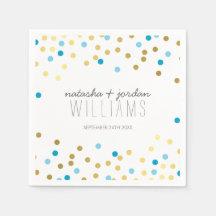 WEDDING TABLE DECOR cute confetti spots gold blue Paper Napkins
