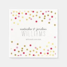 WEDDING TABLE DECOR cute confetti spots gold red Disposable Napkin