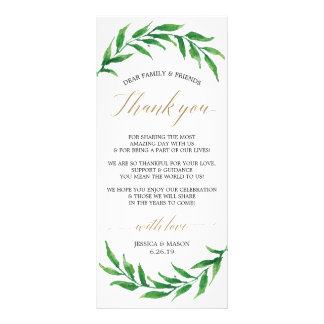 Wedding Thank You Place Card and Menu - Greenery