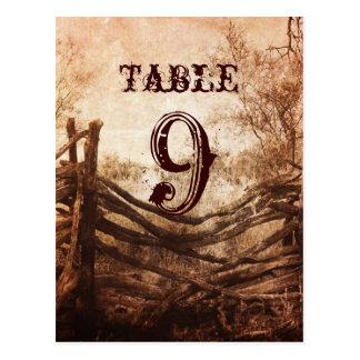 wedding Tischnummern des rustikalen Postkarte