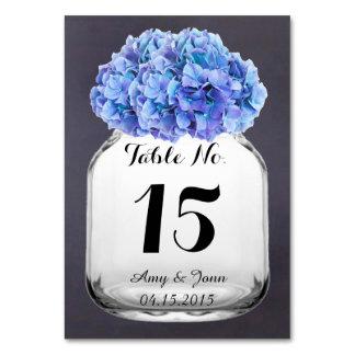 Wedding Tischnummern hydrangea7 des blauen