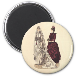 Wedding Vintage Brautpartybräute und -brautjungfer Runder Magnet 5,7 Cm