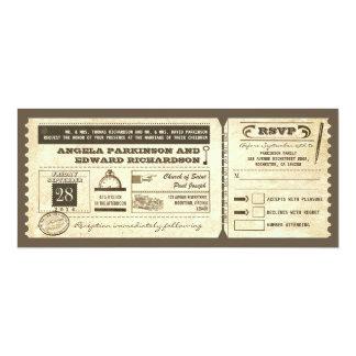 wedding Vintage Karteneinladung mit uAwgentwurf 10,2 X 23,5 Cm Einladungskarte