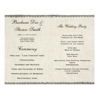 Wedding Vintage weiße Spitze und Leinen 21,6 X 27,9 Cm Flyer