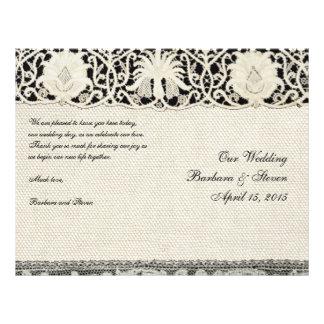 Wedding Vintage weiße Spitze und Leinen Personalisierte Flyer