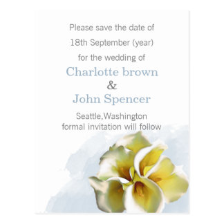 Wedding Watercolor callalilies retten die Daten Postkarte