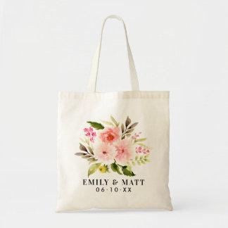 Wedding willkommene | rosa Watercolor-Blumen Tragetasche
