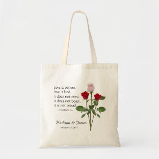 Wedding willkommene Taschen, Rosen mit Bibel-Vers Tragetasche