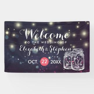 Wedding willkommenes Chic-Maurer-Glas-lila Banner