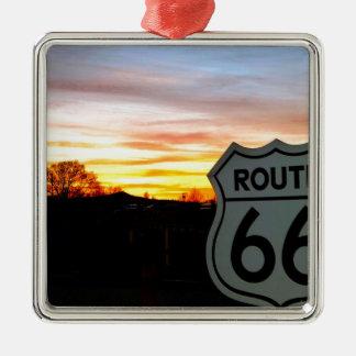 Weg 66 am Sonnenuntergang Silbernes Ornament