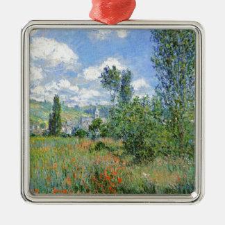 Weg auf den Mohnblumen-Gebieten - Claude Monet Quadratisches Silberfarbenes Ornament