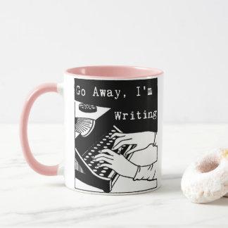 Weg gehe ich schreibe Schreibmaschine Tasse