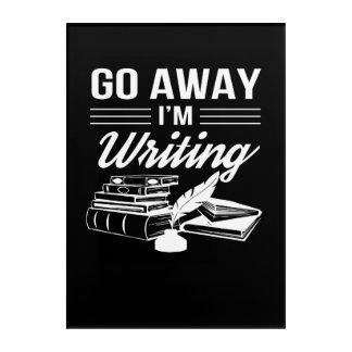 Weg gehen schreibende lustige Verfasser Im Acryl Wandkunst