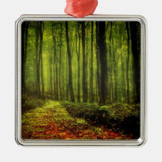 Weg im Holz Silbernes Ornament