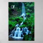 Weg mit Natur-schöner Wasserfall-Grün-Natur Poster