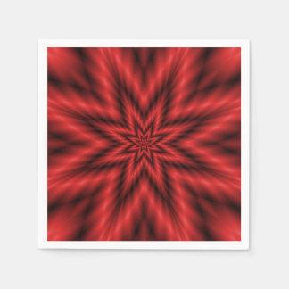Wegwerfservietten-   flockiger Stern im Rot Serviette