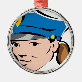 Weiblich-Polizeioffizier Silbernes Ornament