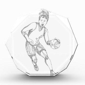Weibliche Basketball-Spieler-Gekritzel-Kunst Acryl Auszeichnung