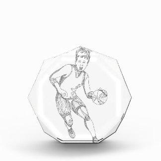 Weibliche Basketball-Spieler-Gekritzel-Kunst Auszeichnung