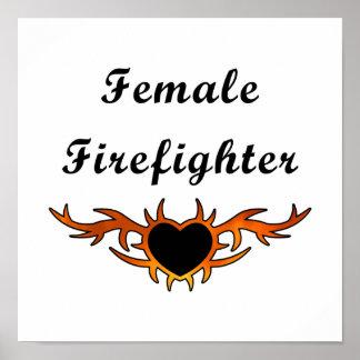 Weibliche Feuerwehrmann-Tätowierung Poster