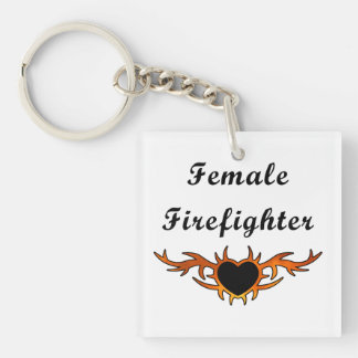 Weibliche Feuerwehrmann-Tätowierung Schlüsselanhänger