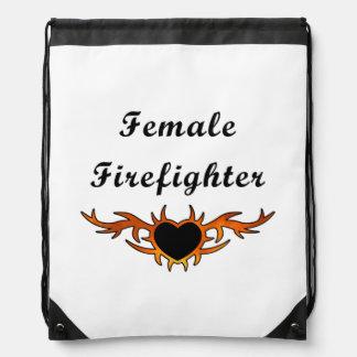 Weibliche Feuerwehrmann-Tätowierung Turnbeutel