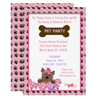 Weibliche Haustier-Geburtstags-Party Einladung