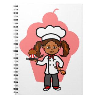 Weibliche Kochs-Illustration Spiral Notizblock