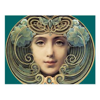 Weibliche Vintage Nouveau Schönheit Postkarte