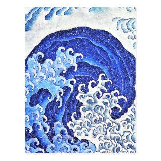Weibliche Welle durch Hokusai Postkarte
