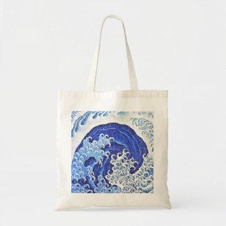 Weibliche Welle durch Hokusai Tragetasche