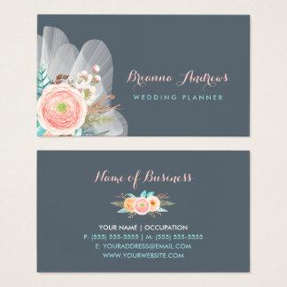 Weiblicher Blumenstrauß-eleganter Hochzeits-Planer Visitenkarte
