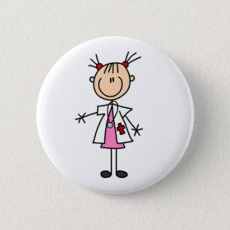 Weiblicher Doktor Strichmännchen Runder Button 5,7 Cm
