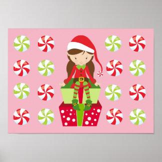 Weiblicher Elf mit Süßigkeiten Poster