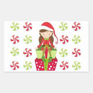 Weiblicher Elf mit Süßigkeiten Rechteckiger Aufkleber