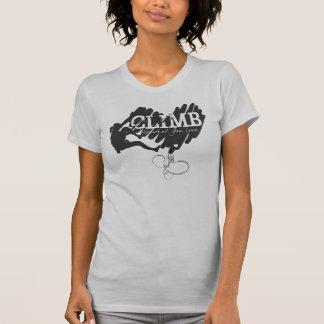 Weiblicher Kletterer-kletterndes Herz T-Shirt