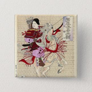 Weiblicher Kriegers-Japaner Woodblock Druck Quadratischer Button 5,1 Cm