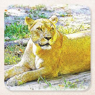 Weiblicher Löwe Rechteckiger Pappuntersetzer